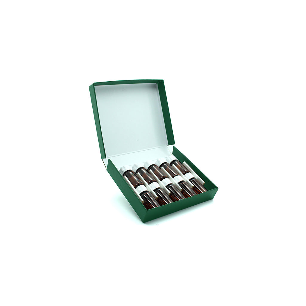 Green Remedy Box with 10 x 4g/5ml Screw Cap Bottles