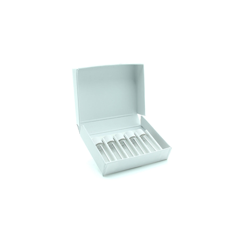 White Cardboard Box with 5 x 2 gram Screw Cap Vials