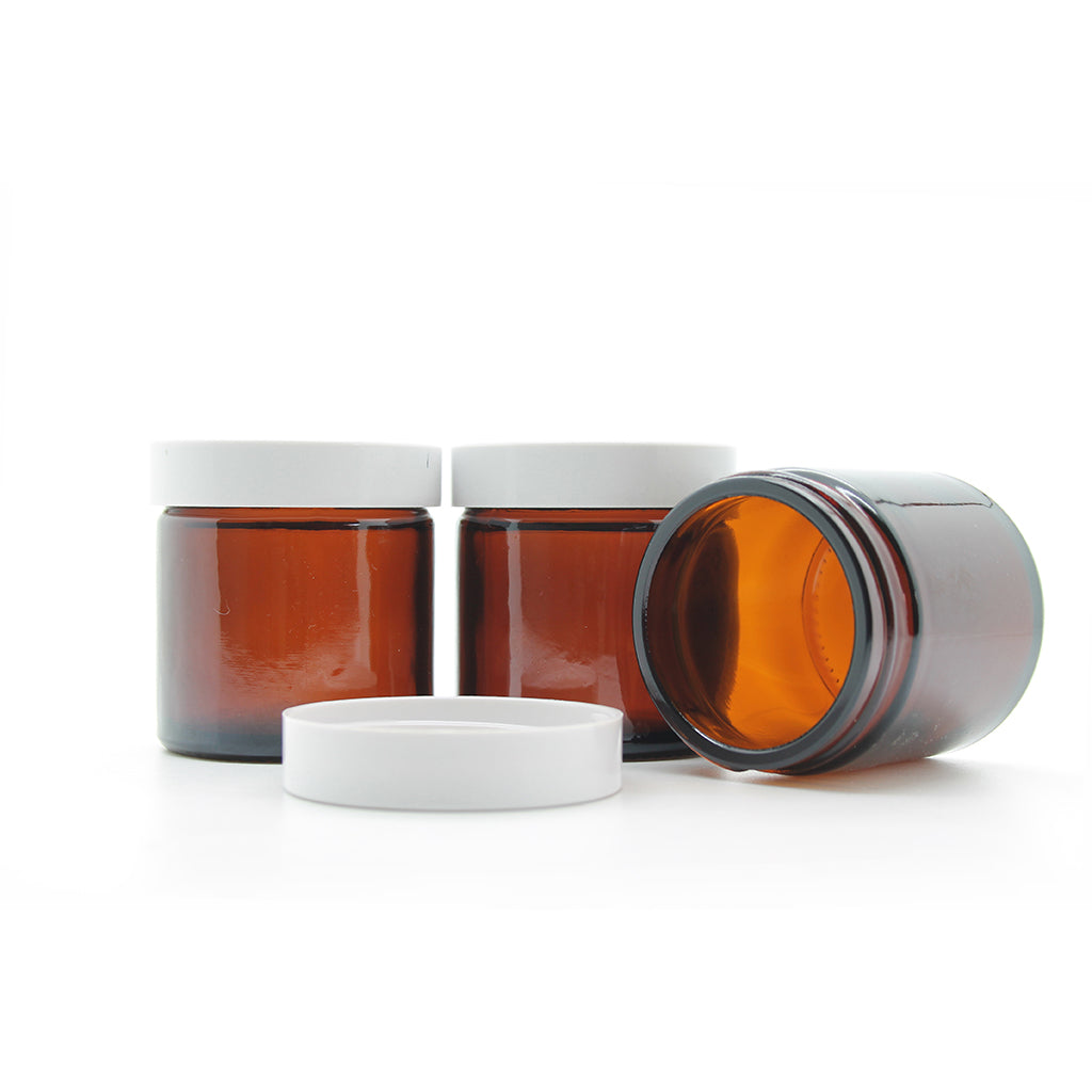 60ml Amber Moulded Glass Jar with Lid