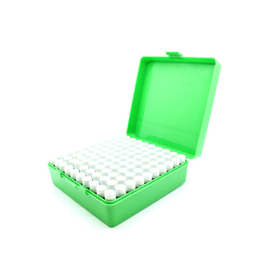 Green Plastic Box with 100 x 2g/1.75ml Screw Cap Vials