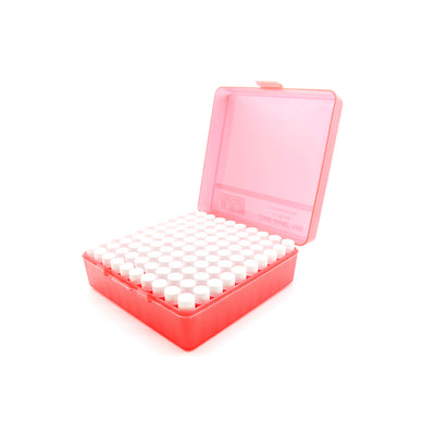 Red Plastic Box with 100 x 2g/1.75ml Screw Cap Vials