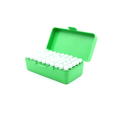 Green Plastic Box with 50 x 2g/1.75ml Push-in Plug Vials