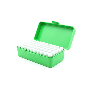 Green Plastic Box with 50 x 2g/1.75ml Screw Cap Vials
