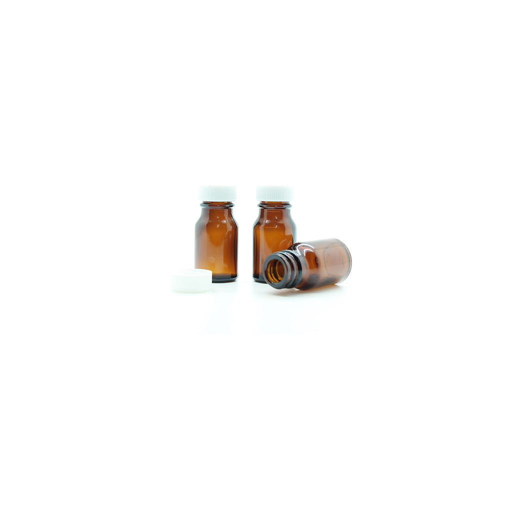 10ml Amber Moulded Glass Screw Cap Bottle