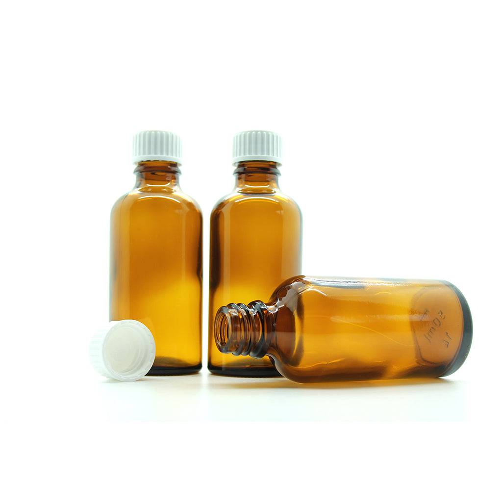 50ml Amber Moulded Glass Screw Cap Bottle