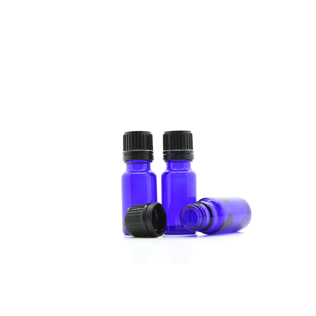 10ml Blue Moulded Glass Screw Cap Bottle with Tamper Evident Cap