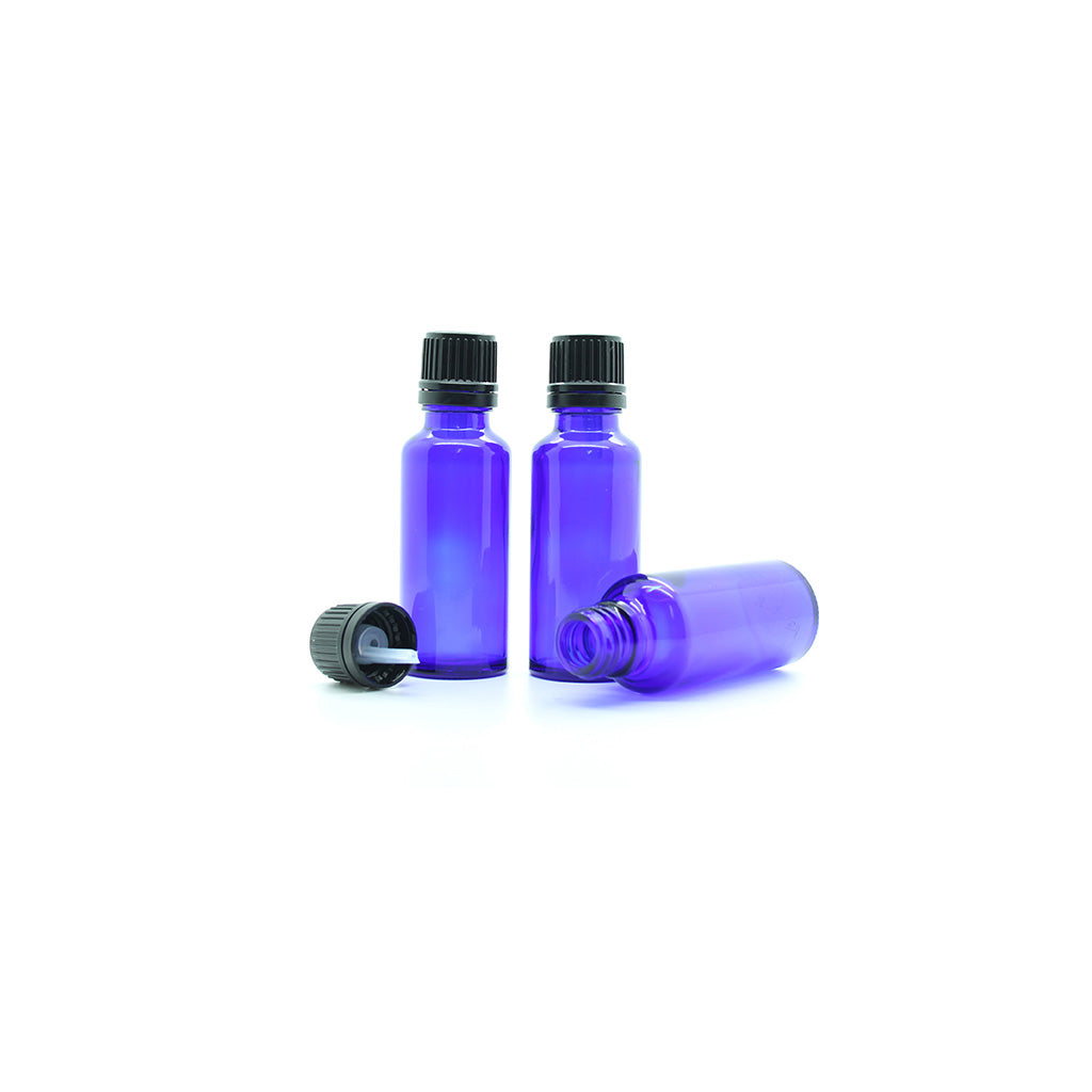 30ml Blue Moulded Glass Pourer Restrictor Bottle with Tamper Evident Cap