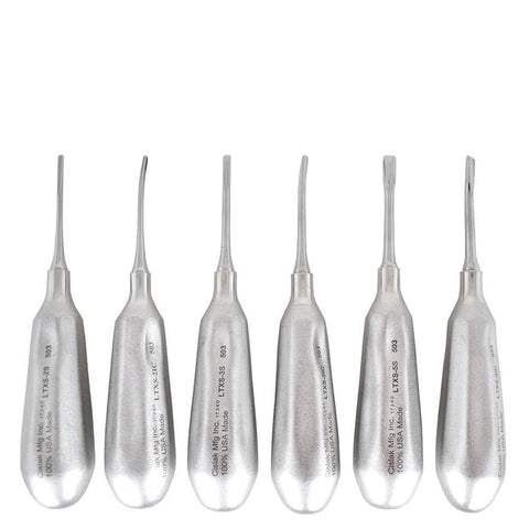 Shop online for the veterinary dental Cislak 6 Piece Luxator Kit (Straight & Inside Curved), crafted from stainless steel & available for sale in XS & REG.