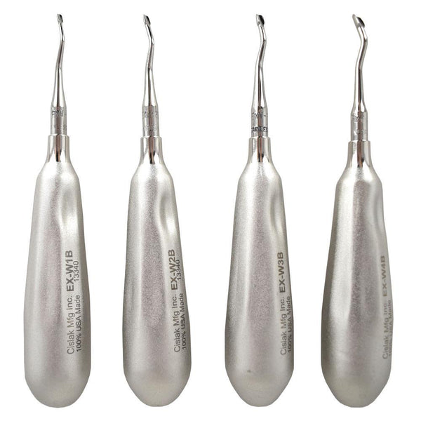 Shop online for the veterinary dental Cislak Back-Bent Winged Elevator Kit (4 pieces). Crafted from stainless steel and available for purchase in XS & REG.