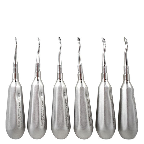 Shop online for the veterinary dental Cislak Back-Bent Winged Elevator Kit (13 pieces). Made from stainless steel and available for purchase in XS & REG.