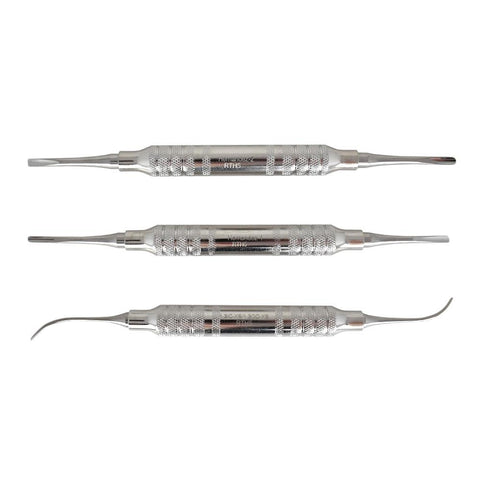 Shop online for the veterinary dental Cislak 3 Piece Double-Ended Elevator Kit (3 pieces). Kits are available for purchase in stainless steel and Z-Soft.