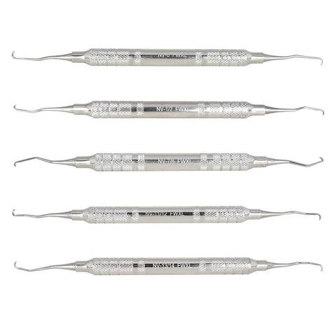 "Shop online at Serona for the veterinary dental Cislak 5 Piece ""NV"" Feline Curette Kit (small blades). Available for purchase in stainless steel and Z-SOFT."