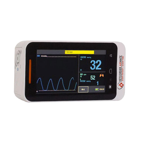 Veterinary dental touchscreen MAI Vetcorder Airmate Portable Sidestream Capnography, which allows continuous monitoring of all patients.
