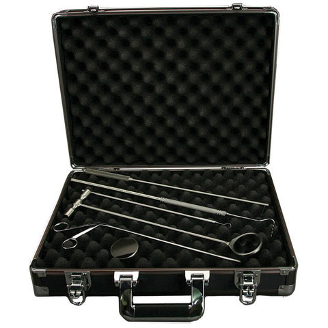 "Veterinary dental Equine Diagnostic Kit. Kit Includes: mouth mirror, replacement mouth mirror, dental pick, VDP equine periodontal pick, 12"" alligator forceps, periodontal probe, explorer, and carrying case"