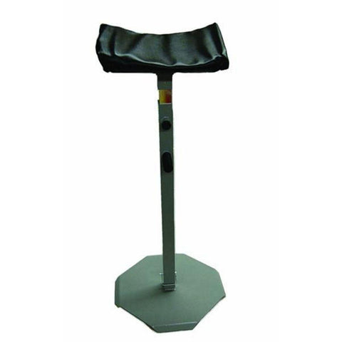 Veterinary dental quik lift equine headrest in cradle style. This product has a tip-resistant base, large padded platform, twist-proof square shank and a height adjustable lock.