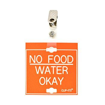 "Veterinary dental orange with white text clip-its cage tag in ""No Food Water Okay"" from MAI."