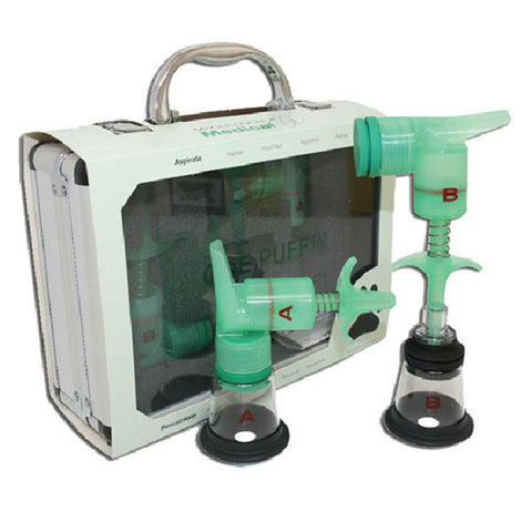 McCulloch medical one puff puppy & kitten aspirator/resuscitator kit that includes an aspirator pump, resuscitator pump, carrying case, & instructions.