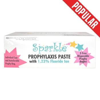 Shop online at Serona for the veterinary dental Crosstex Sparkle Free Prophy Paste, which has 1.23% fluoride in the flavour fine bubble gum & 200 cups/box.