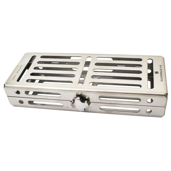"Veterinary dental Cislak 5 Instrument Clamshell Style Stainless Instrument Tray. Dimensions are: 3.25"" W x 7.0"" L x 0.5"" D."