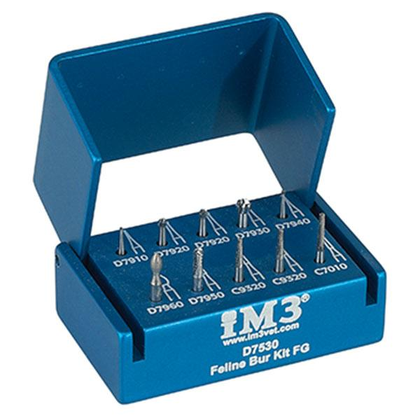 Shop online for the veterinary dental iM3 FG Dental Bur Kit - Feline. This kit comes with an assortment of 10 FG burs, 16mm long, in an aluminum autoclavable holder.