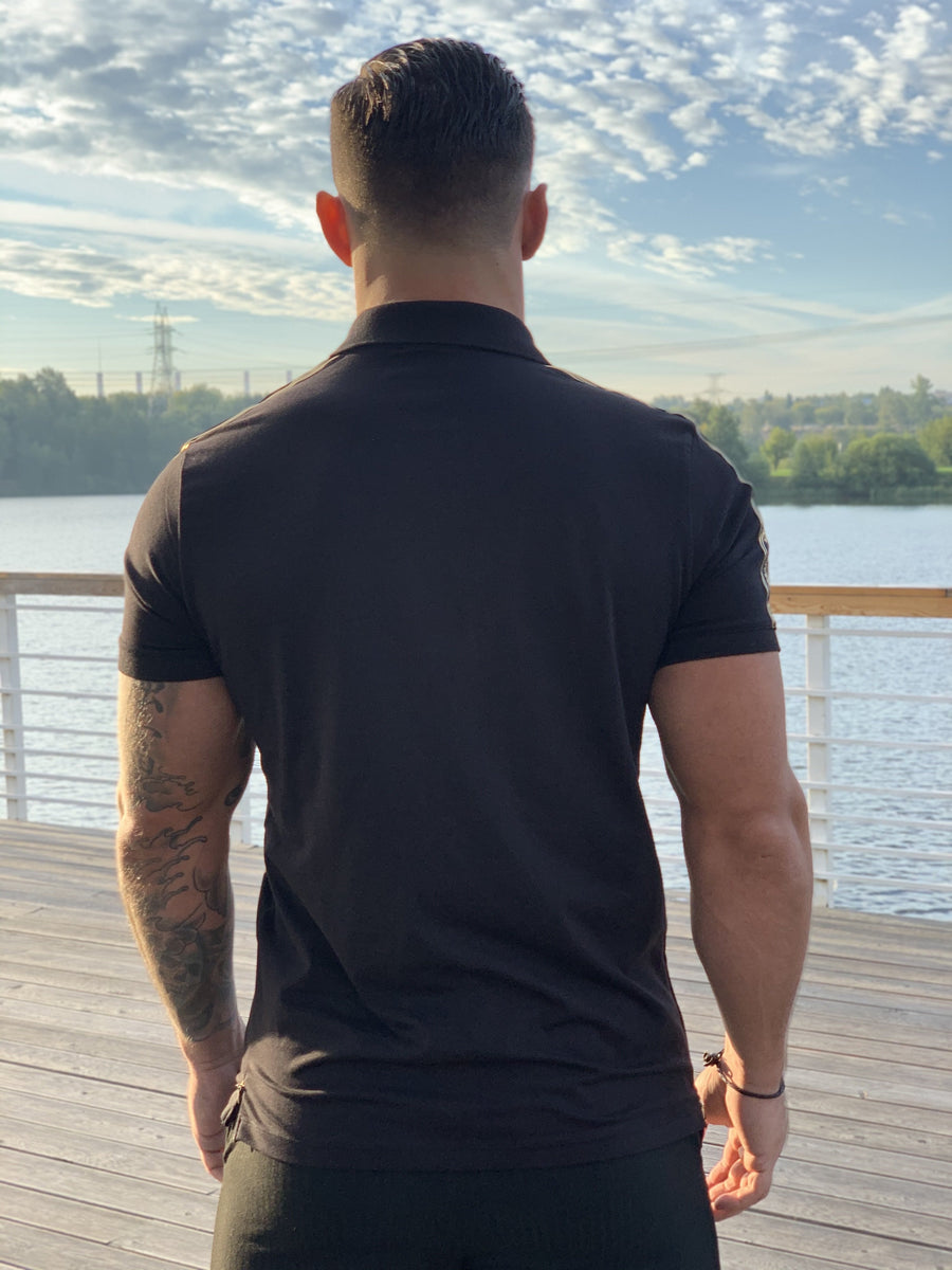 Buff - Black Polo T-shirt for Men (PRE-ORDER DISPATCH DATE 25 SEPTEMBER) - Sarman Fashion - Wholesale Clothing Fashion Brand for Men from Canada