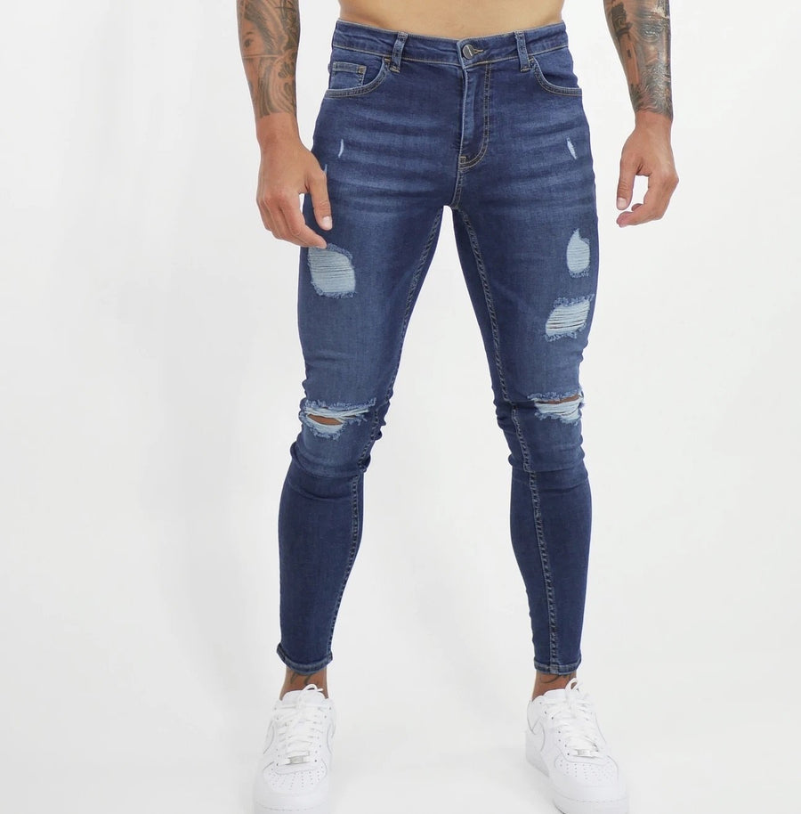 Creation - Dark Blue Skinny Jeans for Men - Sarman Fashion - Wholesale Clothing Fashion Brand for Men from Canada