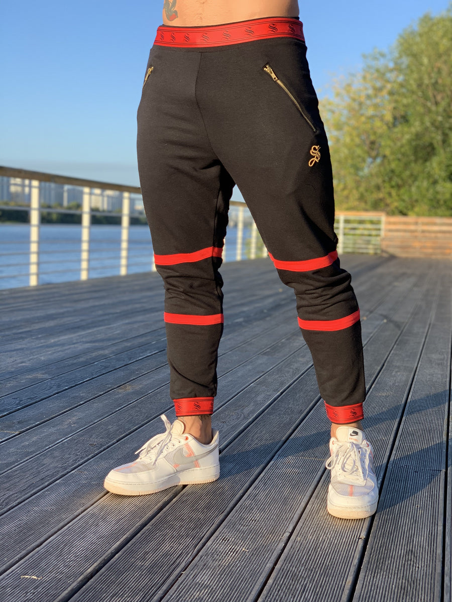 Fury - Black/Red Joggers for Men (PRE-ORDER DISPATCH DATE 1 JUIN 2021) - Sarman Fashion - Wholesale Clothing Fashion Brand for Men from Canada