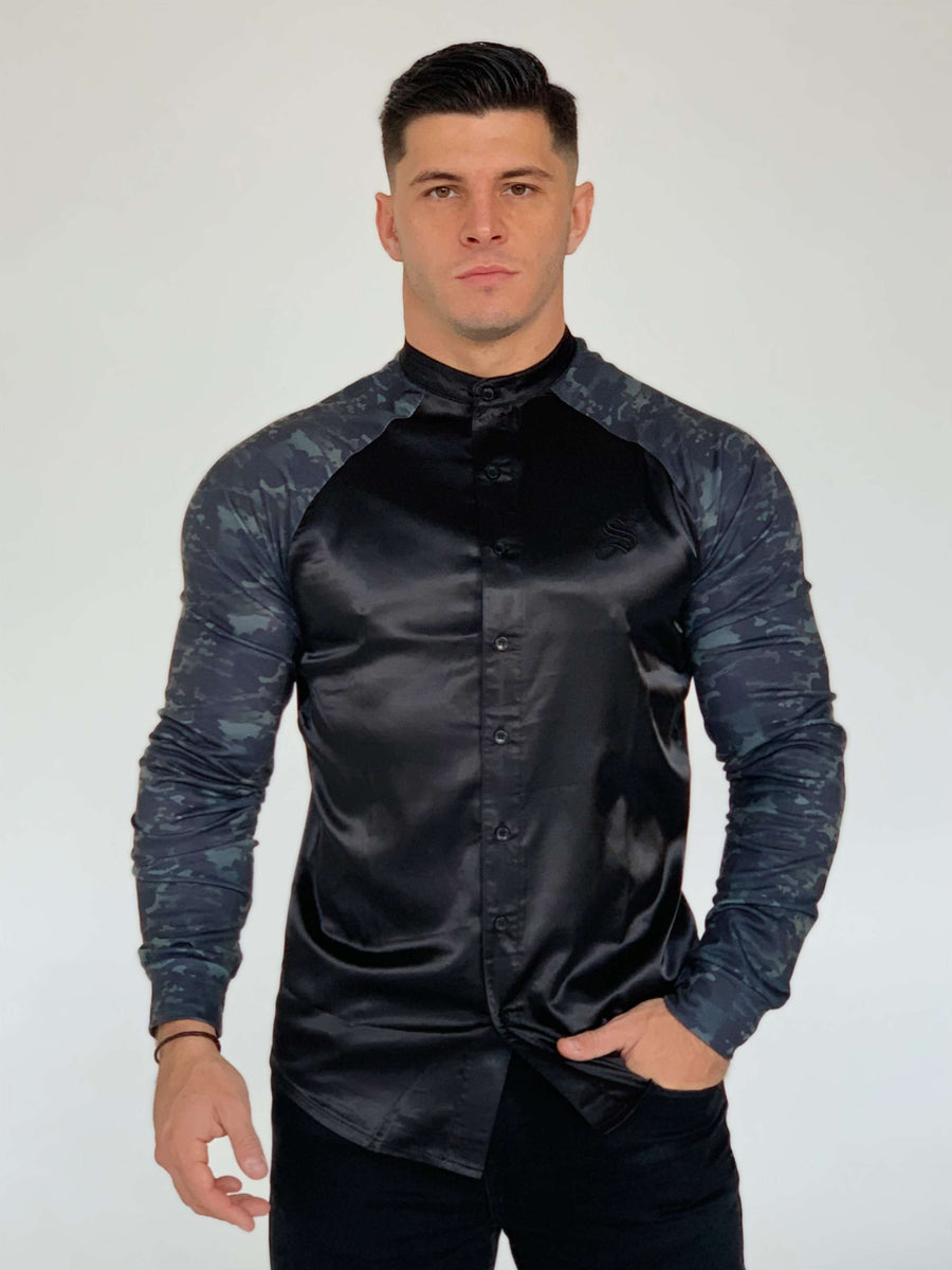 Mercenary - Black /Grey Long Sleeves Shirt for Men (PRE-ORDER DISPATCH DATE 1 JUIN 2021) - Sarman Fashion - Wholesale Clothing Fashion Brand for Men from Canada