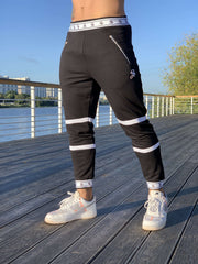 Time - Black/White Joggers for Men (PRE-ORDER DISPATCH DATE 1 JUIN 2021) - Sarman Fashion - Wholesale Clothing Fashion Brand for Men from Canada
