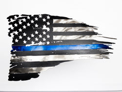 Distressed Police Flag - Black with Blue Stripe