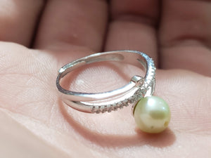 Silver Adjustable Ring for Pearl