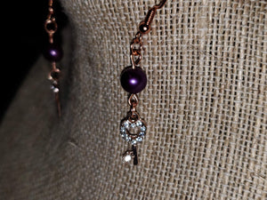 Purple Pearl Earrings with Key Charms