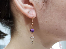 Load image into Gallery viewer, Purple Pearl Earrings with Key Charms