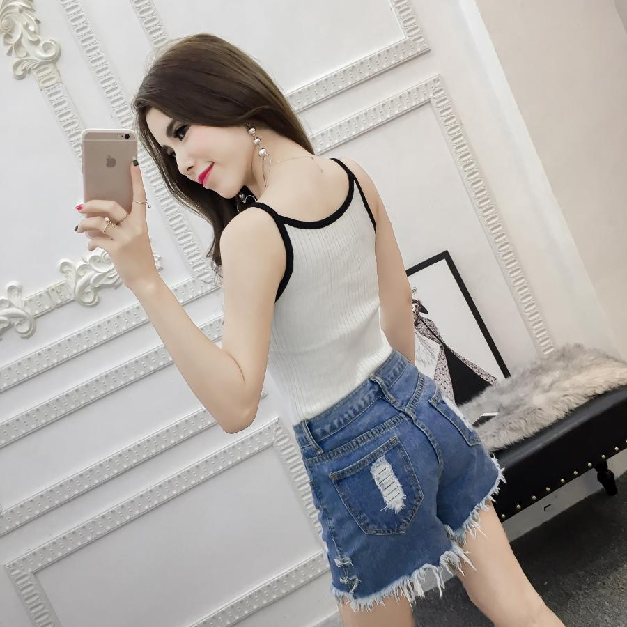 Summer Women Fashion Slim Knitting Striped Camis Tops Girl Knitted Tank Tops Sleeveless Tees Sheath T shirts
