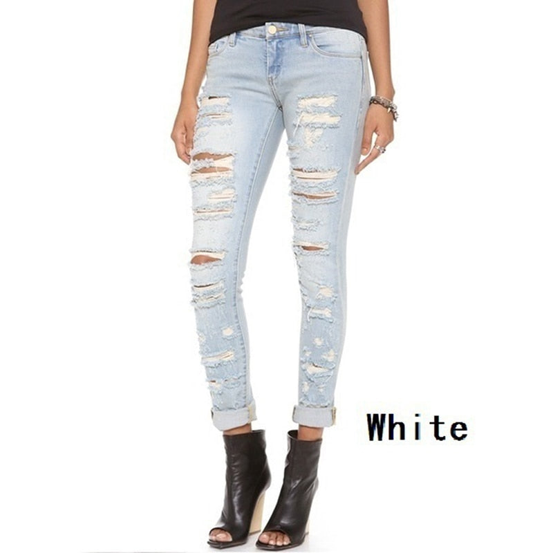 S-XXL Women's Skinny Hole Ripped Jeans New Fashion Women Baggar Pants