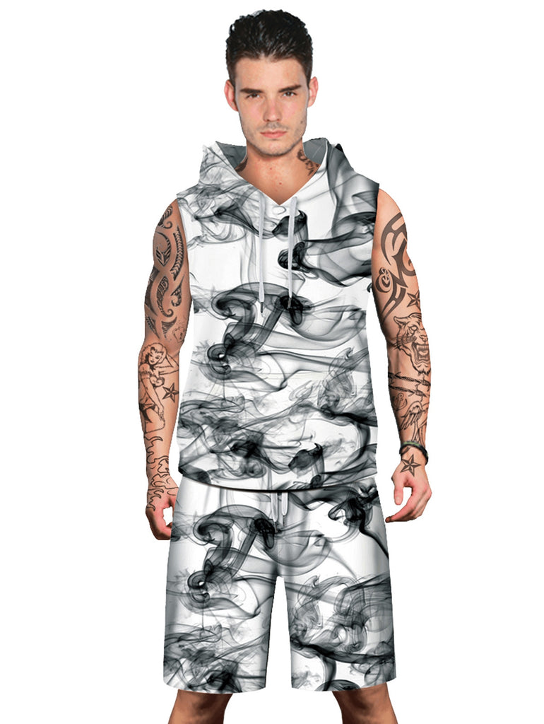 Smog Pattern Sleeveless Hoodies Tank Top and Shorts