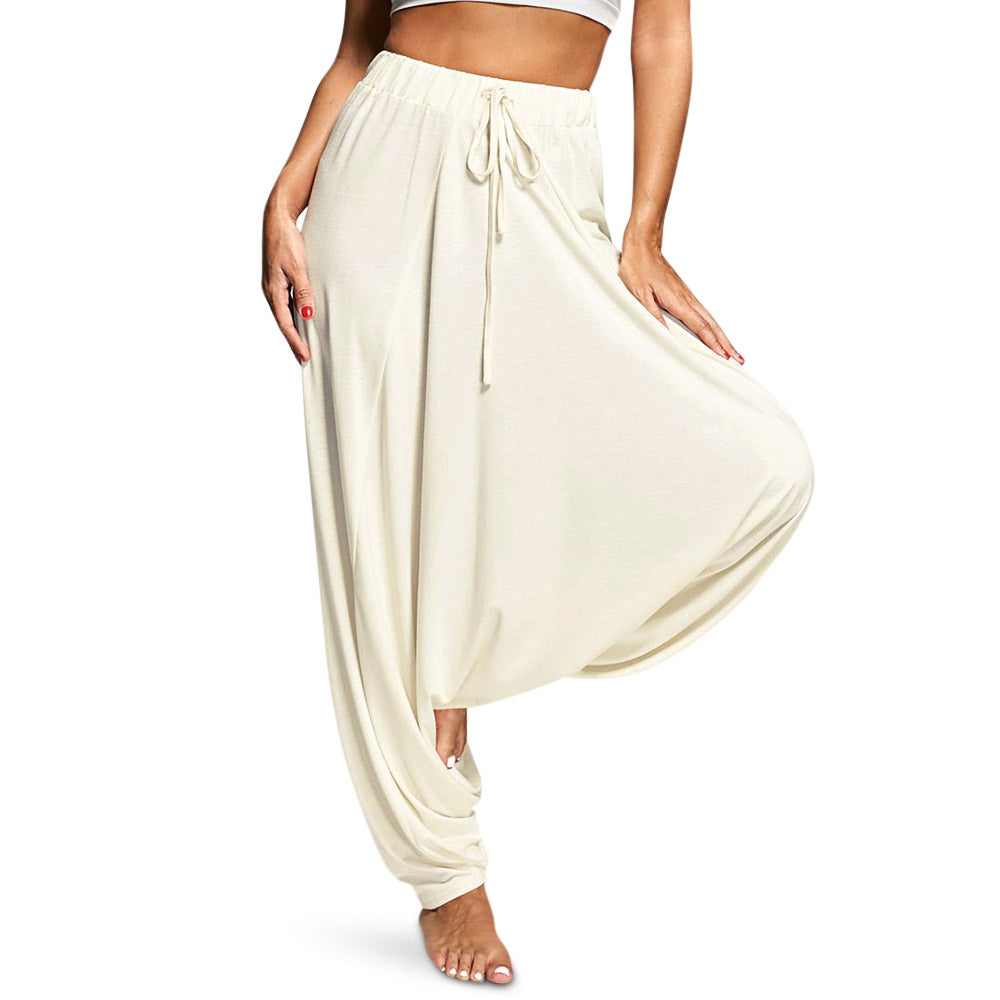 Elastic Waist Loose Solid Color Casual Women Drop-crotch Pants