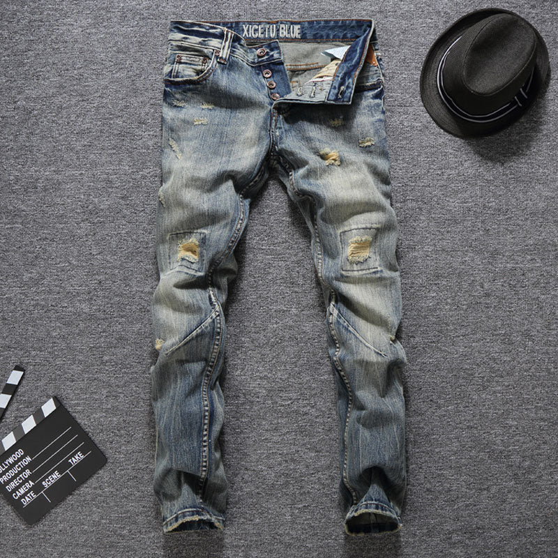 Men Jeans Slim Fit Buttons Jeans Casual Long Pants Ripped Jeans Balplein Brand Classical Jeans Men