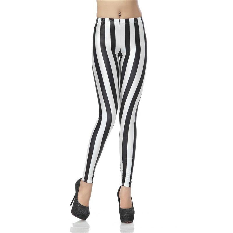 New Fashion Legging Digital Slim Sexy Black White Stripes Leggins Leggins Printed Women Leggings Women Pants