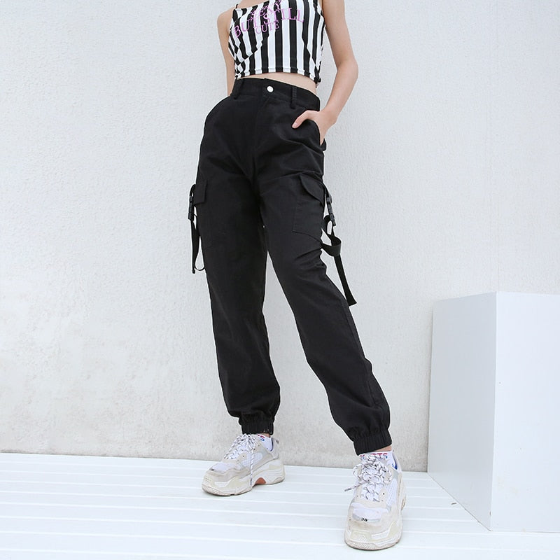 Black High Waist Cargo Pants Women Pockets Patchwork Loose Streetwear Pencil Pants 2018 Fashion Hip Hop Women's Trousers