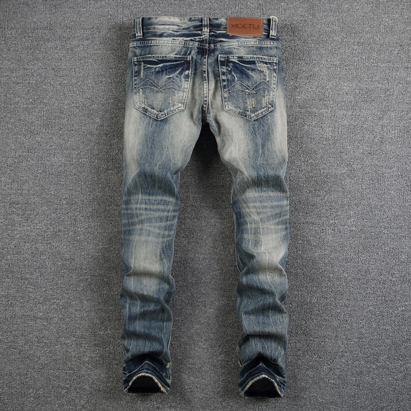 Mens Jeans Destroyed Ripped Jeans For Men Casual Pants Slim Fit Brand Streetwear Stretch Biker Jeans Trousers