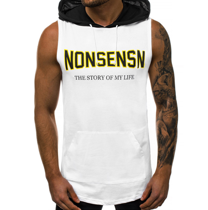 Summer Men Fitness Hoodies Tank Tops Sleeveless Bodybuilding Tee Shirt Fashion Stringer Male Workout Hooded Vest Sportswear