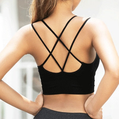 Women's Back Sports Shock Proof Seamless Women Sports Bra Sexy Crisscross Strappy Padded Wirefree Running Crop Top Bras