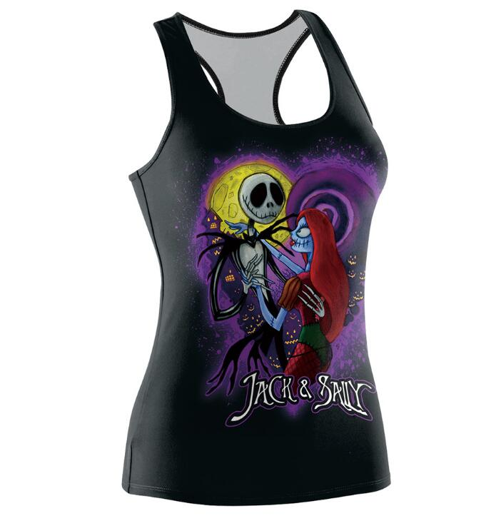 Nightmare Before Christmast Tank Top Women Halloween Jack Skellin Cami Tops O-neck Sleeveless Cropped Feminino