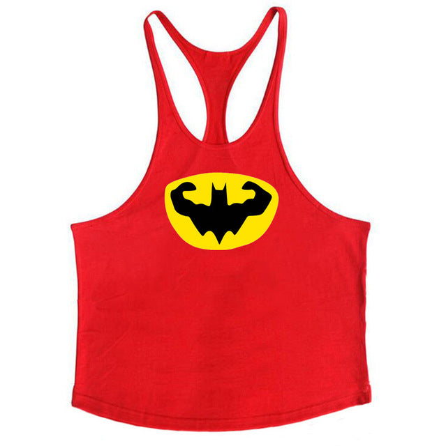 Fitness Batman Clothing Cotton Mens Y Back Tank Tops Bodybuilding Stringer 1cm shoulder strap gyms vest Sexy Workout Undershirt