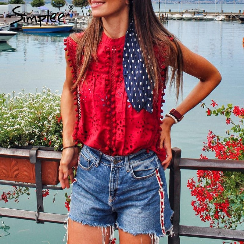 Elegant tank top women blouse Cotton embroidery red shirts feminina sexy top Stand neck tassel pompon ladies tops female