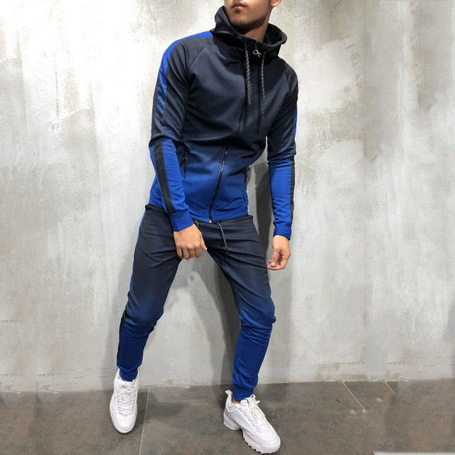 Zipper Tracksuit Men Set Sporting 2 Pieces Sweatsuit Men Clothes Printed Hooded Hoodies Jacket Pants Track Suits