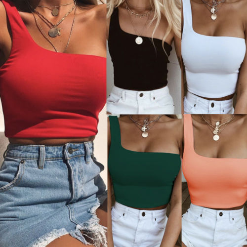 Women Lady Female One Shoulder Crop Tops Sleeveless T-Shirt Tank Tops