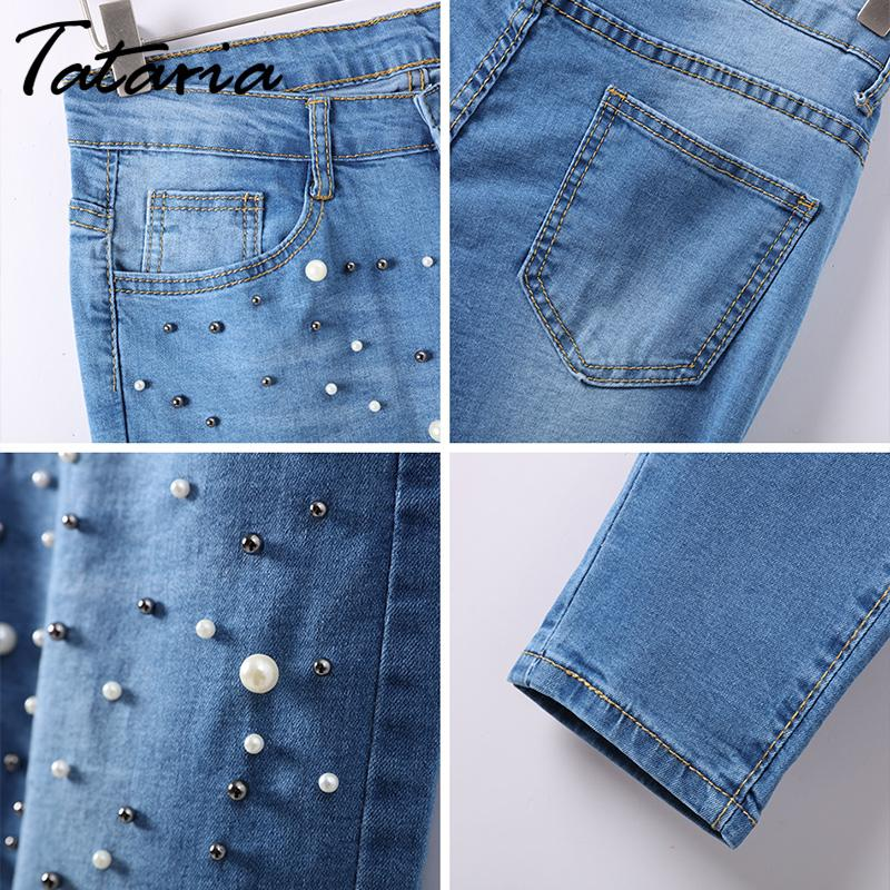 Denim Women Skinny Jeans With Pearls Pants Slim  Pearl Jeans Woman 2018 Mid Waist Pencil Jean For Women