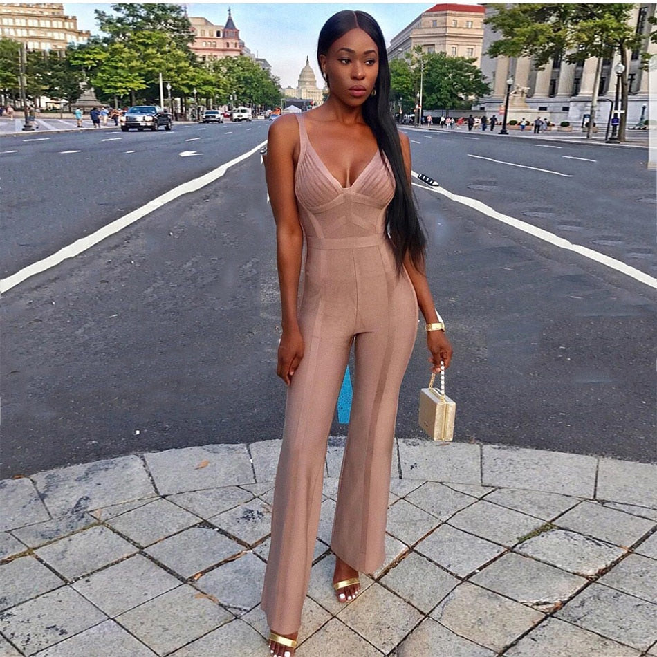 Bandage Jumpsuits Women Sexy Sleeveless Boot Cut Rompers Bodycon Overalls Summer Club Party Long Bodysuits